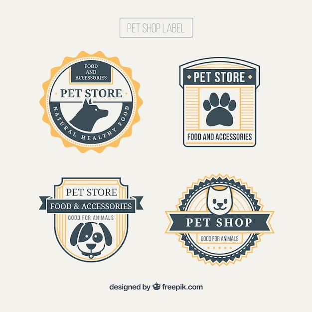 Insignias de tienda de animales con detalles amarillos