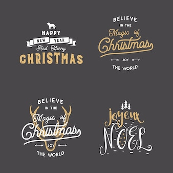 Insignias de tipografía de navidad con deseos cotizaciones establecidas.
