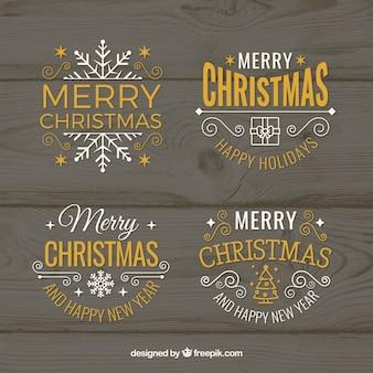 Insignias vector de navidad y etiquetas