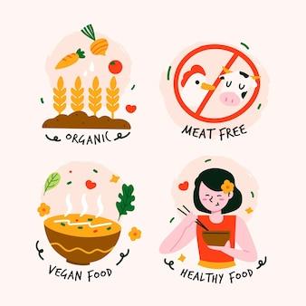 Insignias veganas y libres de crueldad dibujadas