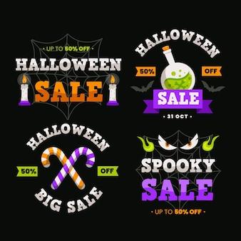 Insignias de venta de halloween de diseño plano