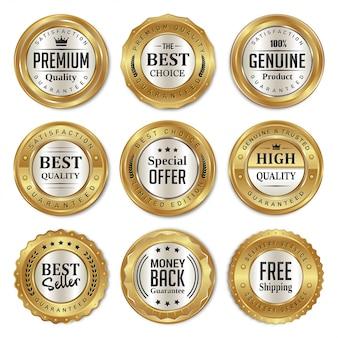 Insignias de venta de oro y etiquetas de primera calidad.