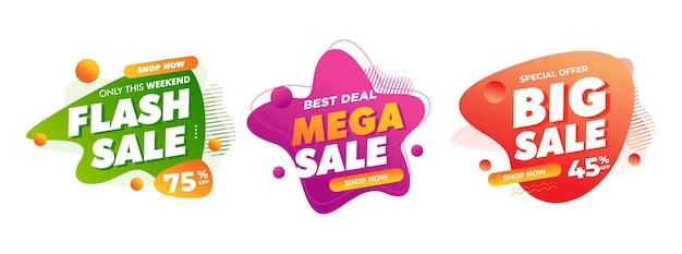 Insignias de venta para promoción de tienda en línea fuera de línea signo de descuento