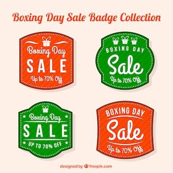 Insignias verdes y rojas del boxing day
