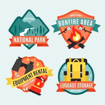 Insignias vintage de camping y aventuras