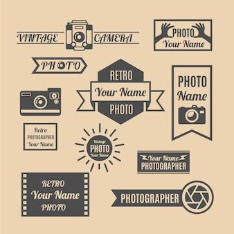 Insignias vintage de fotografía