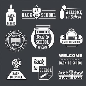Insignias vintage de vuelta al colegio