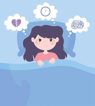 Insomnio, caricatura de niña en la cama con dolor de cabeza preocupado ilustración vectorial