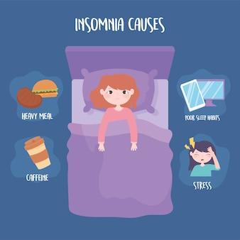 El insomnio causa estrés, comida pesada, cafeína y malos hábitos de sueño, ilustración vectorial