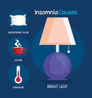 El insomnio causa la lámpara de luz brillante y el diseño de conjunto de iconos, el sueño y el tema de la noche