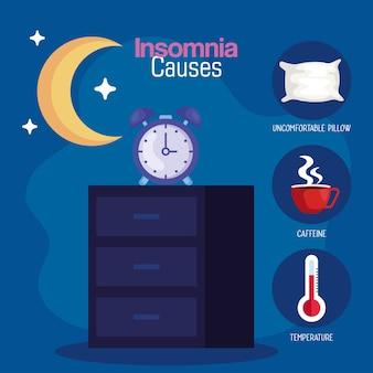 El insomnio causa el reloj en los muebles y el diseño de la luna, el sueño y el tema de la noche.