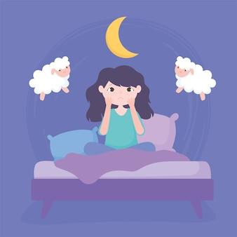 Insomnio, niña con bolsa de ojos sentada en la ilustración de vector de cama
