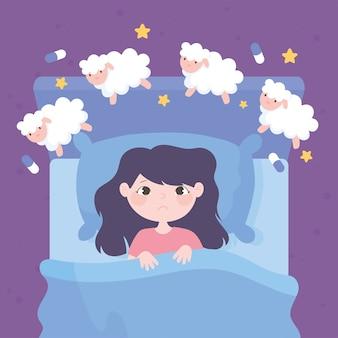 Insomnio, niña en la cama contando ovejas ilustración vectorial de dibujos animados
