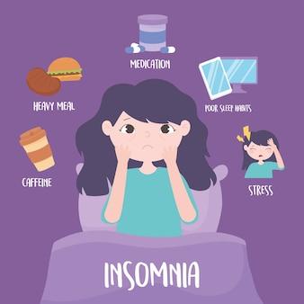 Insomnio, niña en la cama, razones enfermedad cafeína comida pesada medicina estrés ilustración vectorial