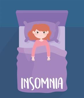 Insomnio, niña preocupada en la cama sin dormir, ilustración de vector de vista superior