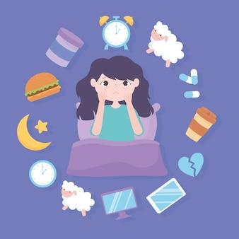 Insomnio, niña y razones de la enfermedad, comida pesada, medicina, cafeína, estrés y malos hábitos de sueño, ilustración vectorial