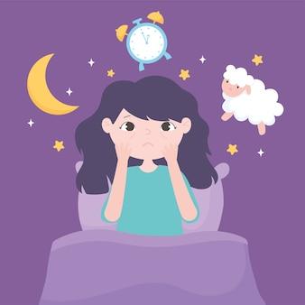 Insomnio, niña sentada en la cama oveja reloj luna ilustración vectorial