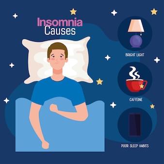 Insomnio sauses hombre en la cama con almohada y diseño de conjunto de iconos, tema de sueño y noche