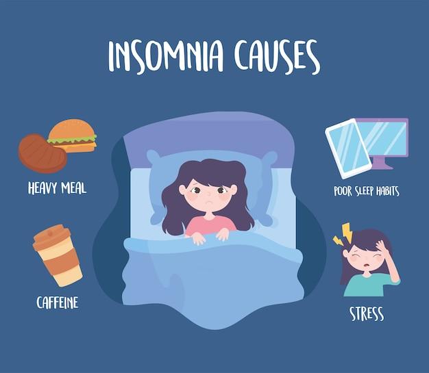 Insomnio, trastorno del sueño causa cafeína, comida pesada, medicina, estrés y malos hábitos, ilustración vectorial