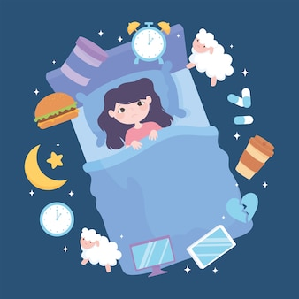 Insomnio, trastorno del sueño de la niña, causa estrés por cafeína de la medicina de comidas pesadas y malos hábitos de sueño ilustración vectorial