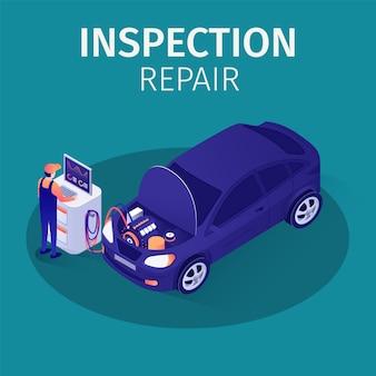 Inspección profesional de reparación en autoservicio
