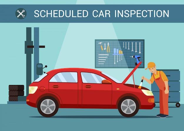 Inspección programada de vehículos. mecanico en servicio de automoviles. estación de servicio. abra la capucha. reparación de motores.