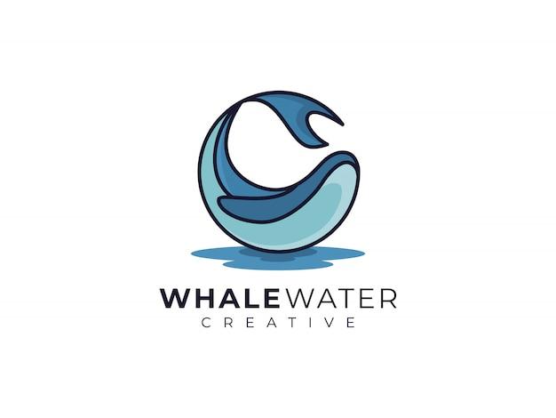 Inspiración creativa del diseño del logotipo del agua del océano de la ballena azul