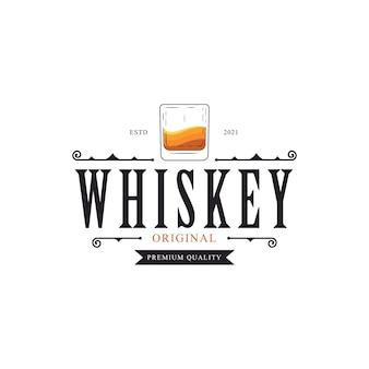 Inspiración de diseño de etiqueta de logotipo de vidrio de whisky vintage de lujo