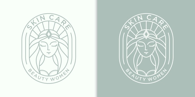 Inspiración de diseño de logotipo de cabello de mujeres de belleza para el cuidado de la piel