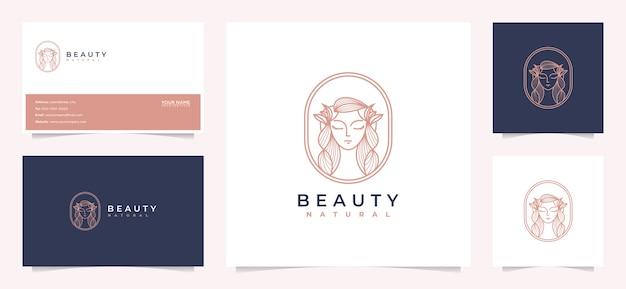 Inspiración de diseño de logotipo de cabello de mujeres de belleza con tarjeta de visita