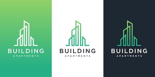 Inspiración para el diseño del logotipo de construcción de edificios.