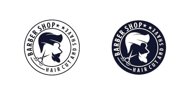 Inspiración para el diseño del logotipo de corte de pelo, peluquería de diseño vintage