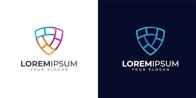 Inspiración de diseño de logotipo de escudo colorido