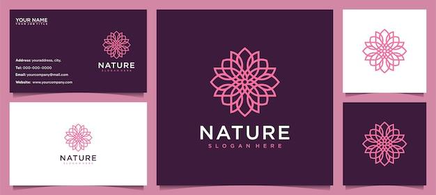Inspiración de diseño de logotipo de flores para el cuidado de la piel, yoga, cosmética, salones y spa, con concepto de línea y tarjeta de visita