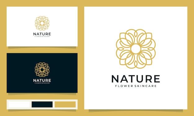 Inspiración de diseño de logotipo de flores minimalista con estilo de arte lineal