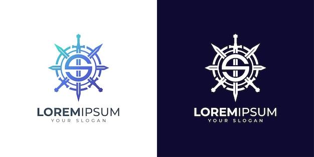 Inspiración para el diseño del logotipo de la letra s y la espada