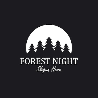 Inspiración del diseño del logotipo de la noche del bosque con elemento de pino y luna,