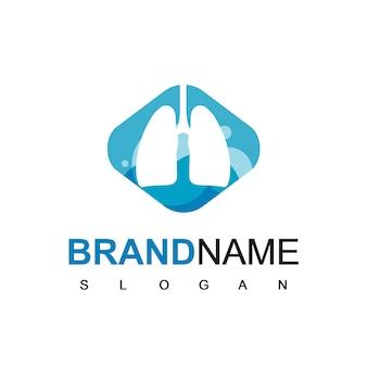 Inspiración de diseño de logotipo de pulmón de silueta