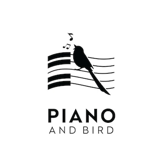 Inspiración para el diseño del logotipo de la silueta de las notas clave de la música del piano del canto del pájaro