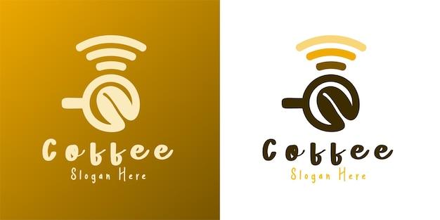 Inspiración para el diseño del logotipo de la taza de café wifi