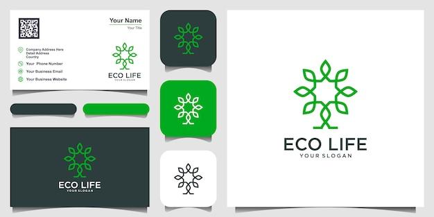 Inspiración de diseño de logotipo de vector de árbol. diseño de logo y tarjeta de presentación