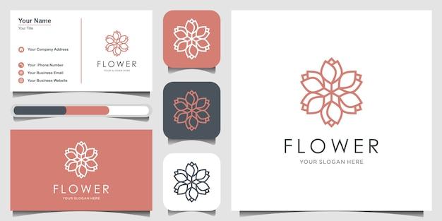 Inspiración de diseño minimalista elegante del logotipo del ornamento floral con estilo de línea de arte. cosméticos, spa, salón de belleza decoración boutique logo y tarjeta de visita