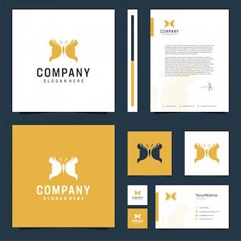 Inspiración de diseño de papelería de la marca butterfly and face