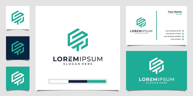 Inspiración de la letra del logotipo de gtl. con arte lineal y estilo hexagonal.