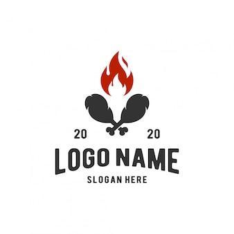 Inspiración del logo de pollo frito caliente
