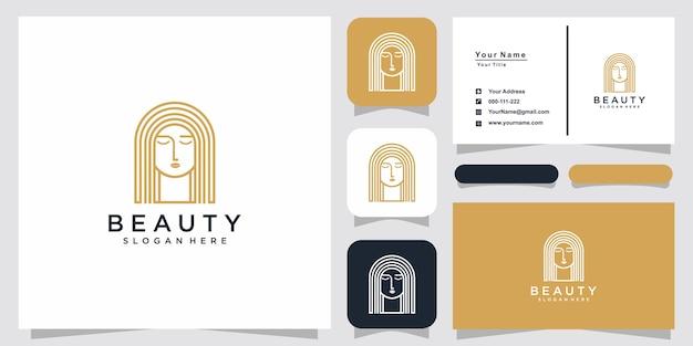 Inspiración de logotipo de arte de línea de mujeres de belleza y diseño de tarjeta de presentación