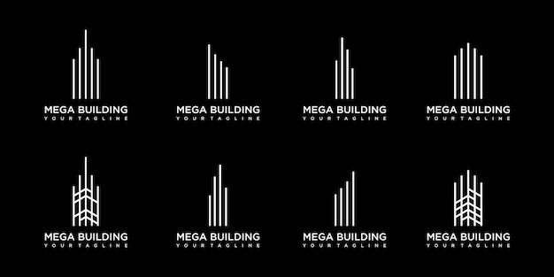 Inspiración de logotipo de edificio minimalista con arte lineal conceptual.