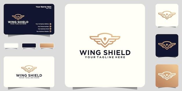 Inspiración del logotipo de escudo y alas con estilo de arte lineal y diseño de tarjeta de presentación