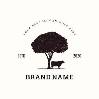 Inspiración del logotipo de ganado vintage