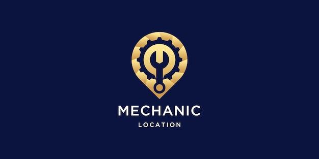 Inspiración del logotipo del lugar mecánico dorado